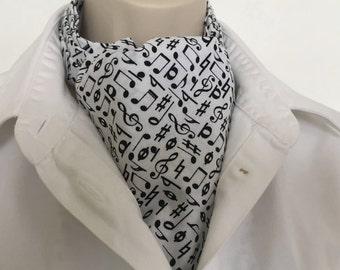 Ascot tie.  Musical theme. 100% cotton