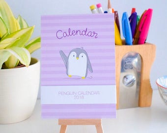 Penguin Desk Calendar 2018 for appointments. Cute Desk Accessory. A6 Calendar on mini Easel.