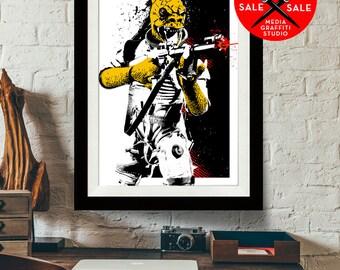 "Star Wars Art - SALE! 18""X24"" - Bossk - Star Wars Poster, Art Print, Bossk print, Fan Art, Star Wars Print, Star Wars Gift"