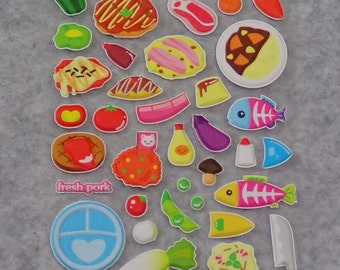 Mixed Adorable Puffy Breakfast Stickers