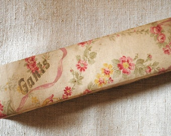 Antique FRENCH FABRIC Glove Box PINK Roses & Ribbons Boudoir