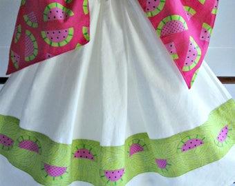 Tie On Dish/Kitchen flour sack towel-Hanging kitchen towel-applique watermelons-summertime