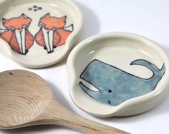 Whale Spoon Rest Full Size Spoonrest for serving and cooking blue whale illustration animal themed pottery home and kitchen cute gift