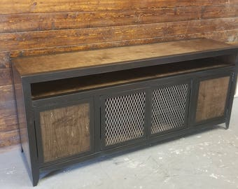 Modern Industrial Media Console With Component Niche U2022 Industrial Furniture