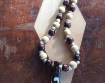 Wood bead necklace with African Bone Pendant
