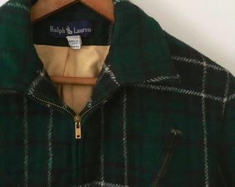 Vintage Ralph Lauren Plaid Wool Jacket Womens Sz 4 USA Made