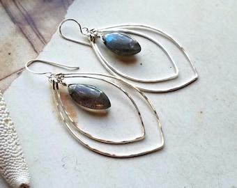 Labradorite Double Hoop Earrings, Sterling Silver Marquise Earrings, Large Hammered Hoop Earrings:  Ready Made