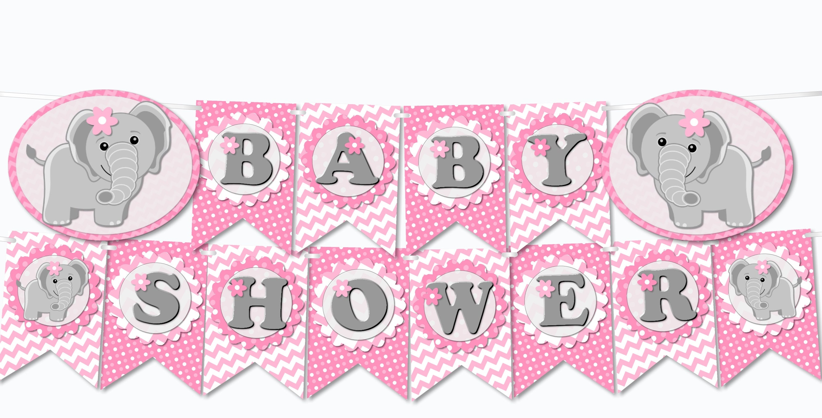 Printable Pink Elephant Baby Shower Decoration Banner U0027BABY SHOWERu0027   Diy,  Pdf,