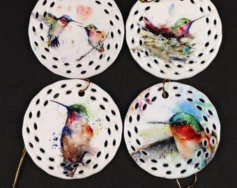 HUMMINGBIRD Set of 4 Bird ORNAMENTS by Dean Crouser