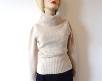 1970s Wool Sweater beige angora cowl neck pullover classic vintage fashion