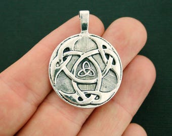 2 Celtic Knot Charms Antique Silver Tone Large Size Trinity Triquetra - SC7138 NEW5