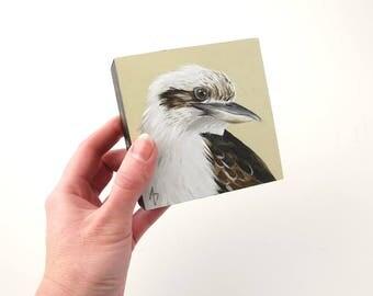 Laughing Kookaburra painting - Australian bird wildlife art - realistic Kookaburra art block original - small painting - desk art