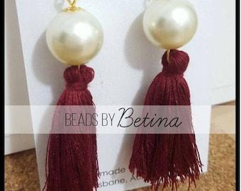 BEE//LUXE: Pearl & Shiraz Tassel Earrings
