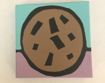 Chocolate chunk cookie acrylic painting 3x3 inches kitchen decor housewarming