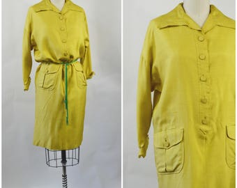 1960s Silk Shift Dress Chartreuse Yellow by Mam'selle by Betty Carol Size Medium Inverted Triangle Silhouette Fabulous Construction High End