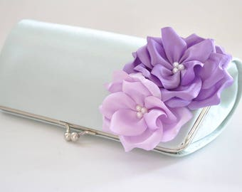 Hint of Mint and Shades of Lavender - Bridesmaid Clutch / Bridal clutch/ Wedding clutch / Custom clutch