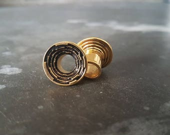 Step Tunnels - Plugs - Stretched Lobes - 22K Gold Plated Tunnels - Body Piercing Jewelry