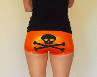 Metallic Orange Skull and Crossbones Roller Derby Shorts