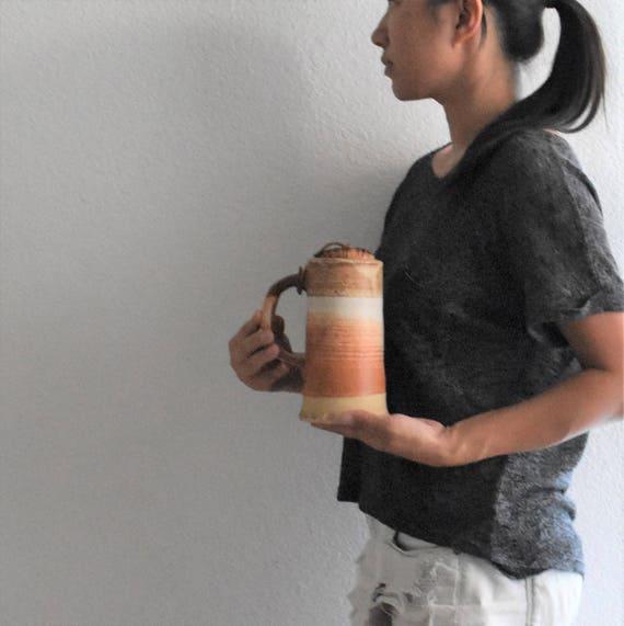 large hand thrown brown earth tone stoneware coffee mug / beer mug /  pottery