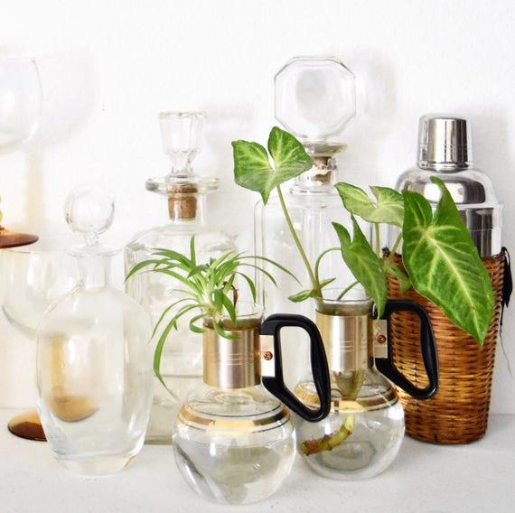 hollywood regency atomic glass gold coffee pot | bud vase starter
