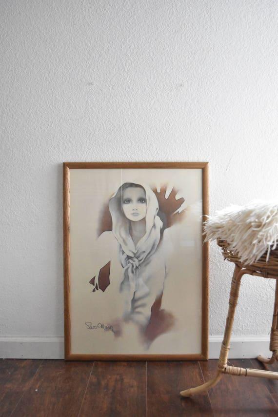 large framed sara moon framed litho print of a lady