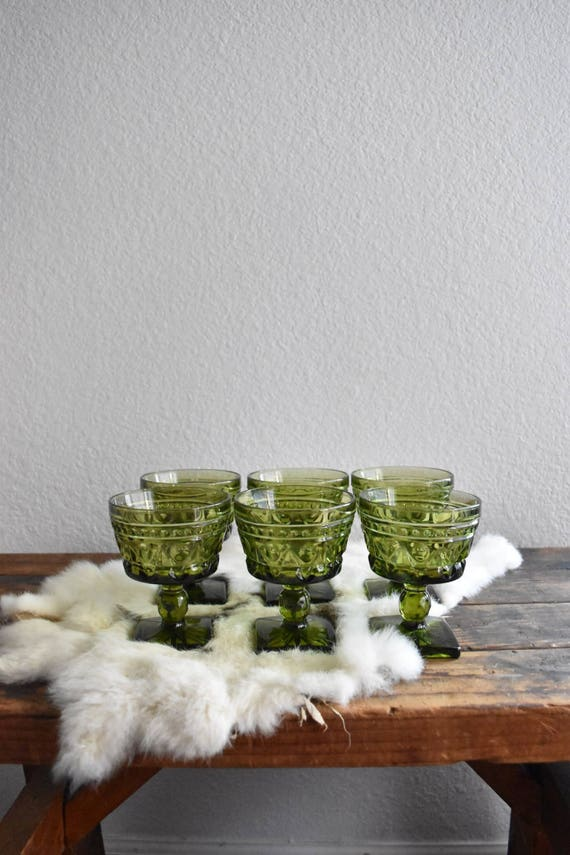 green glass champagne wine glass goblets / depression glass set 6