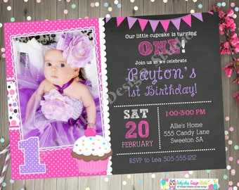 cupcake birthday invitation 1st birthday invitation girl pink purple cupcake party cupcake invitation printable photo picture DIY