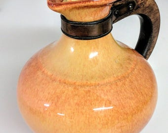 California Pottery 1930s Gladding McBean Franciscan El Patio Carafe With Wood Handle