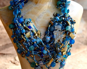 Blue Chunky African Beaded necklace,Blue Multi-stranded Masai Beaded Necklace,Statement African Wedding Jewelry