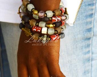 Maroon Beaded Bracelet,Maroon African Beaded bracelet,African layered Bracelet