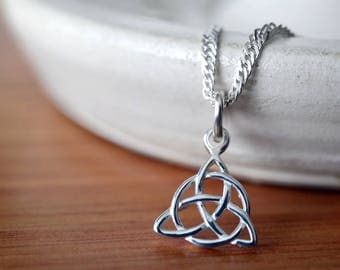 """Trinity Knot Pendant, Sterling Silver Celtic Knot Necklace, Solid .925 Sterling 18"""" 20"""" Chain, Simple Triquetra Pendant, Celtic Jewelry"""