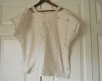 Vintage white cotton cut out and leaves Top