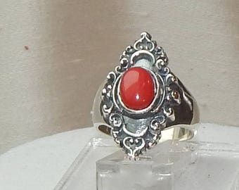 Red coral ring,red coral and silver ring,red coral and sterling ring,fancy red coral ring,fancy red coral and sterling ring,statement ring