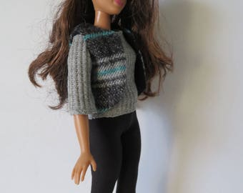 CURVY BARBIE 3 Piece Gray And Black Outfit
