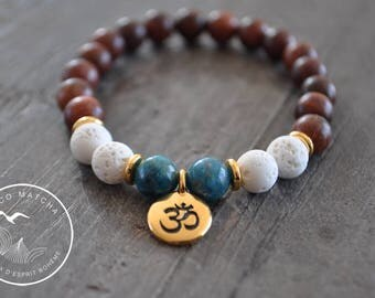 Bracelet pierres naturelles - 6 pouces - Bois - Pierres volcaniques - Hapatite - Bracelet Om - Coco Matcha