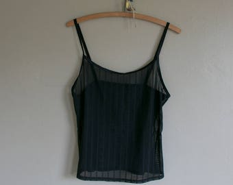 Vintage 1990's Sheer Striped Spaghetti Top Tank Top, Women's Medium Large, Goth Grunge