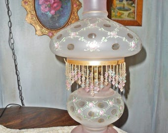 Vintage 1940's Fenton Charleton Lattice Roses & dots Frost Pink Glass electric Hurricane Lamp