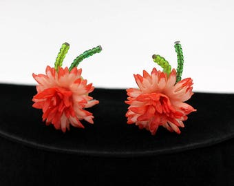 Flower Earrings, Made in Western Germany ca. 1960s