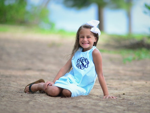 Monogrammed Seafoam Gingham Girl's Dress, Monogram Included
