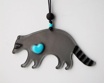 Glass Raccoon Ornament-Heart-Gray-Totem Animal for Family Protection-Turquoise-Grey-Woodland Creature-Critter-Cool-LOVE