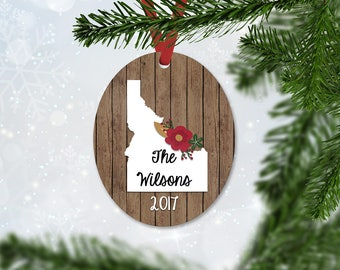 Personalized Christmas Ornament with State, Name & Year, Christmas 2017, Keepsake Ornament, Faux Wood and Flowers Ornament (020)