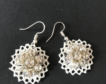 Ivory lace bridal earrings with crystals, Handmade lace bridal earrings, Bridal dangle earrings, Lace jewelry, Bridesmaids gifts