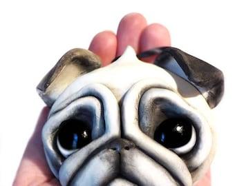 Pug Ornament, MADE TO ORDER, Pet Portrait, Custom Pet Ornament, Personalized Pet Ornament, Pet Memorial, Custom Pet Sculpture,