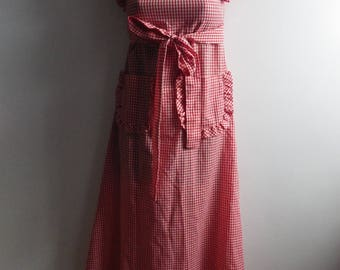 Cute Gingham Pinafore Style Dress Ruffled Sleeves size XS