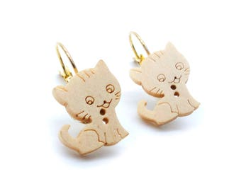 Cat Wooded Button Gold Lever Back Earrings