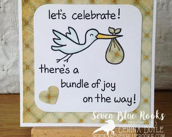 Welcome Baby | Lets celebrate. There's a bundle of joy on the way. Congratulations. New Baby handmade greeting card