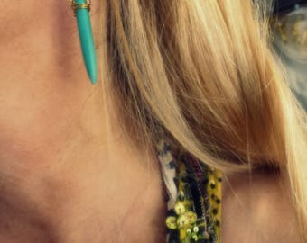 gold and turquoise bullet earrings- gem bullet jewelry- gemstone blue spikes- blue spike earrings- boho chic fashion for her- dangle gift