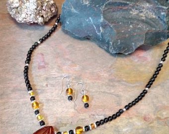 SET: BALTIC AMBER w/Black Onyx Sterling Silver Necklace & Earring Set