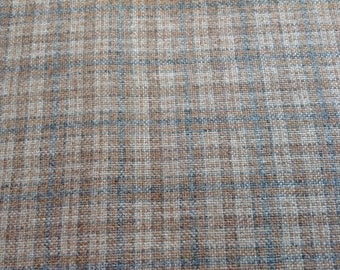 Vintage Wool Fabric, Wool Blend Fabric, 70's Plaid Fabric, Beige Blue Plaid Fabric