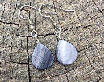 Steel Blue Mother of Pearl Teardrops . Earrings